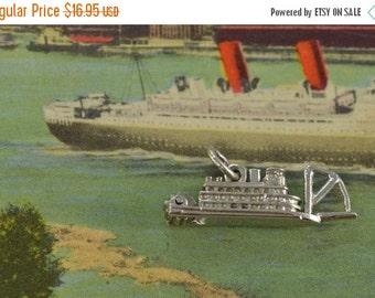 ON SALE Steamboat Charm / Pendant Sterling Silver 3.1g Vintage Estate