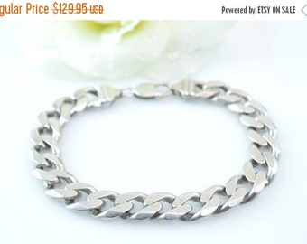 ON SALE Heavy Curb Chain Bracelet Sterling Silver 58g Vintage Estate