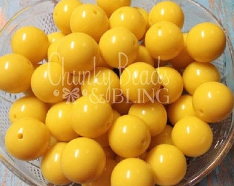 10pc. Yellow Gumball Beads 20mm