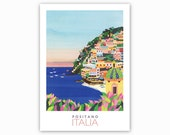 POSTER Positano, Italy. Print of original collage. Cliffside village, Amalfi Coast, Italy. Coloured houses, sunset, Home decor, office decor