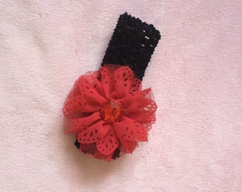 Red Chiffon Flower Headband