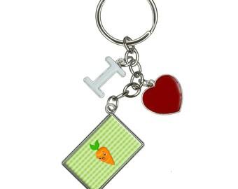 Cute Carrot I Heart Love Keychain Key Ring
