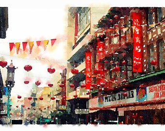 Water Color of Chinatown in San Francisco as a Giclee