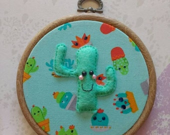 Cactus wall art ~ picture embroidery hoop ~ home gifts