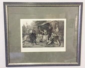 Framed Engraving - The Nine Worthies - Scene from Shakespeare