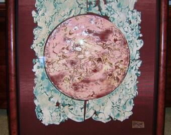 Wall Hanging, Ceramic art, framed, red and aquamarine, Sol