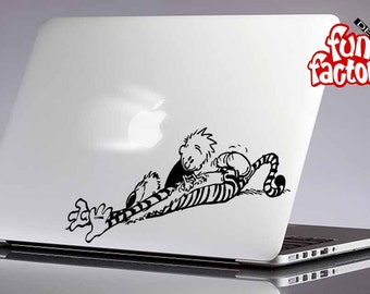 Calvin & Hobbes Leafing Macbook Air Pro Decal Sticker