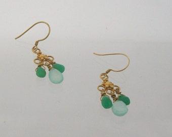 Gold drop earrings with semi precious gemstones
