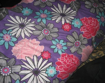 Full Size Purple with Flowers Bedspread/Comforter