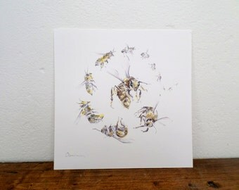 Honey bee illustration, worker bee, honey bee art print, kitchen decor, bee wall art, watercolor bee art, spiral art print, bee illustration
