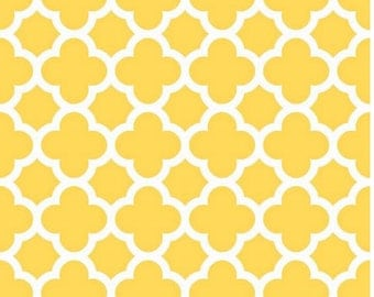 Cotton by the Yard Yellow Quatrefoil Fabric - Medium Quatrefoil Wallpaper Fabric - Moroccan Fabric c435 50 Yellow Tile Fabric Riley Blake