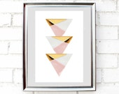 Gold dipped triangles, Printable wall art,poster,Instant Download,geometric wall decor, 5 different sizes for the price of 1.Modern deco