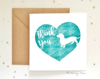 Thank You Dachshund Dog Square Greeting Card