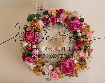 Little Pose ~ Floral Nest Newborn Digital Background High Res jpg file