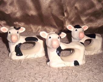 Ceramic Cow napkin rings set of 4