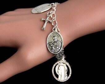 Saint Gerard Bracelet. Christian Bracelet. St Gerard Catholic Charm Bracelet. Christian Jewelry. Religious Bracelet. Handmade Jewelry.