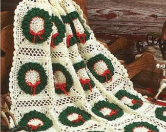 "Crochet pattern Afghan Christmas blanket 44"" x 65"" Instant Download"