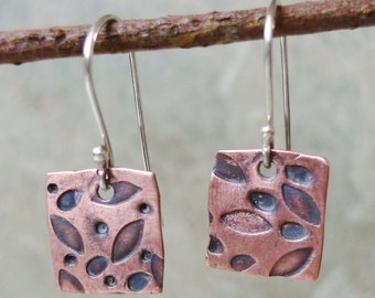 Textured Copper Dangles with Sterling Silver