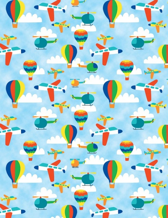 Blank printed fabric travel around the world aircraft for Airplane print cotton fabric
