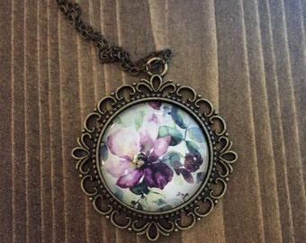 Purple Green Floral Necklace Antique Brass