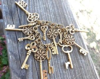Vintage 60s Skeleton Keys Bracelet in Brass From Germany