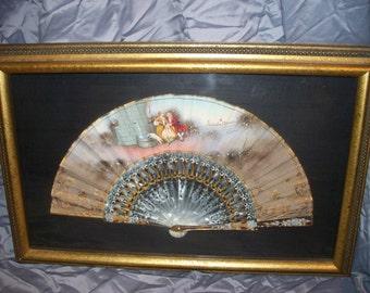 Vintage Hand Painted Victorian Scene Framed Fan
