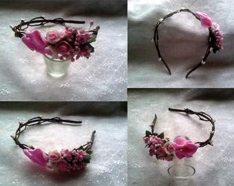 Headband of roses for hair) Hair accessory) Handmade)