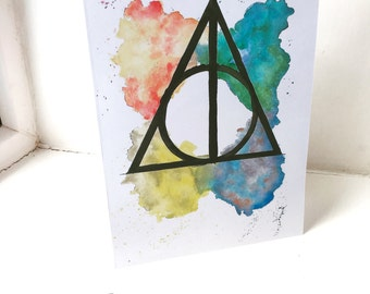 Harry Potter Deathly Hallows Watercolour A4 & A5 print