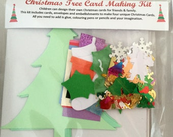 Children's Christmas Tree Card Making Kit - featuring christmas trees, papers and embellishments - makes 4 unique cards