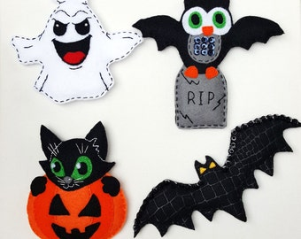Felt Halloween magnets,Halloween decor, Felt black cat magnet,felt ghost magnet,felt bat magnet,Halloween owl magnet, Felt pumpkin magnet