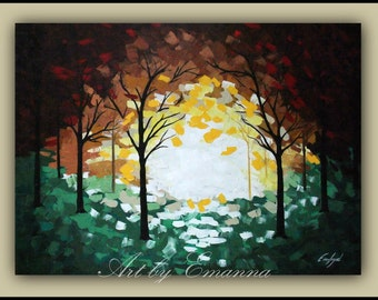 """SALE, Original Trees Painting, Canvas Art, Acrylic Painting, Absract Landscape, Modern Wall Art, Ready to Hang 28""""x40"""""""