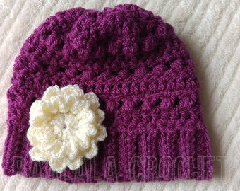 Newborn Crochet Hat in Purple Berry with Cream Flower FREE UK DELIVERY!