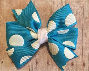 "Blue Polka Dot Pinwheel 3"" Hair Bow"