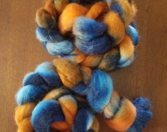 BFL Wool Roving - Hand Dyed Roving (combed top) - Fiber for Spinning or Felting.   2oz