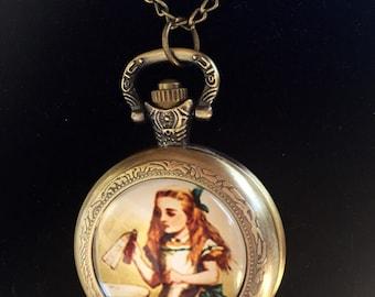 Alice in Wonderland Pocket Watch Necklace / Alice in Wonderland Watch / Alice in Wonderland Clock - Necklace