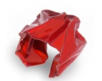 SALE 20% Off - FORMULA1 Metal Cuff Bracelet, Red Cuff Bracelet for Women, Wide Cuff Bracelet, Red Bracelet, One-Of-A-Kind Cuff, Art Jewelry