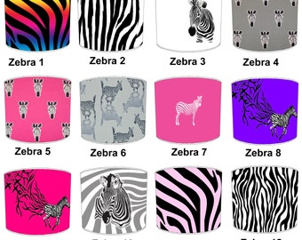 Zebra Lamp shades, To Fit Either a Table Lamp base or a Ceiling Light Fitting.