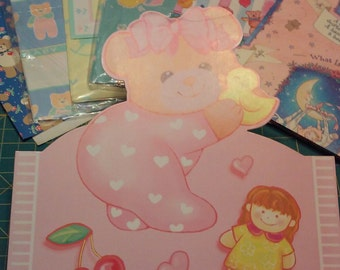 Baby wrapping paper vintage lot of 6!
