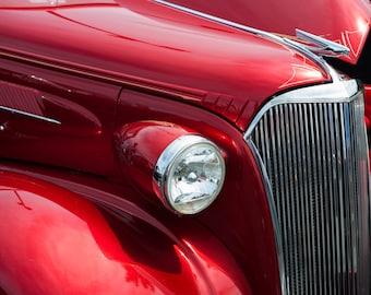 Vintage Car, Automobile Photos, Red, Chrome, Classic Car, Photographic print