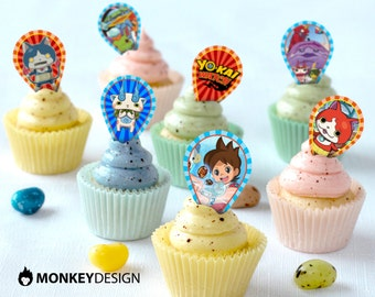 Yo-Kai CupCake toppers, Birthday Cupcake Topper, Yo-Kai Toppers, Yo-Kai party Supplies, printable Yo-Kai party toppers