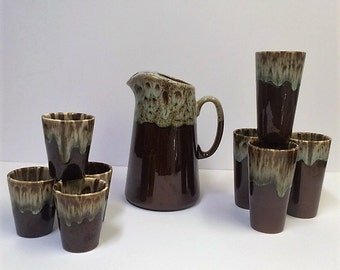 Med Century Brown Drip Ware 9 Piece Set | Vintage Pottery