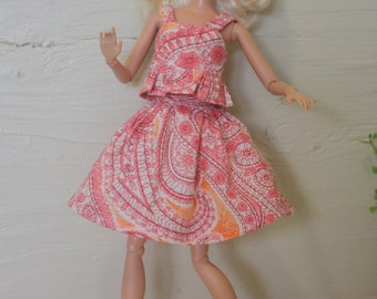 Barbie Clothes, Barbie Summer Top and Skirt, Handmade, Doll Clothes, OOAK