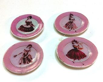 Miniature set of 4 Decorative plates (CER047)