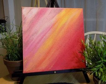 Original Acrylic Painting, Red and Orange Sunburst Abstract