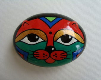 Hand painted stone-lucky stone-cat stone-stone reproductions-collectibles-ethnic-stone stone OOAK miniature