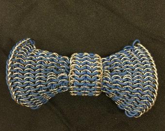 Blue chain mail hair bow