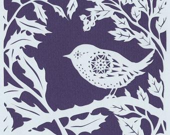 Bird papercut - Wren in Foliage  - print from an original handmade art work.