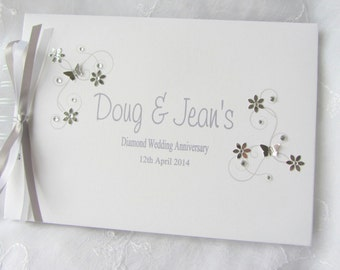 Personalised  - Silver / Ruby / Pearl / Golden / Diamond Wedding Anniversary /Engagement /  Guest Book / Scrapbook Memory Album