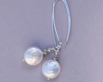 Coin Pearl Earrings   Pearl Dangle Earrings   Bridal Earrings   June Birthday Gift   White and Silver   Wedding Jewelry   MahiDesigns1