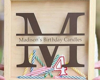 Candle Storage Birthday Monogram for Shadow Box - DIY Gift - Unique First Birthday Gift - First Birthday Keepsake - Birthday Candles - 1st